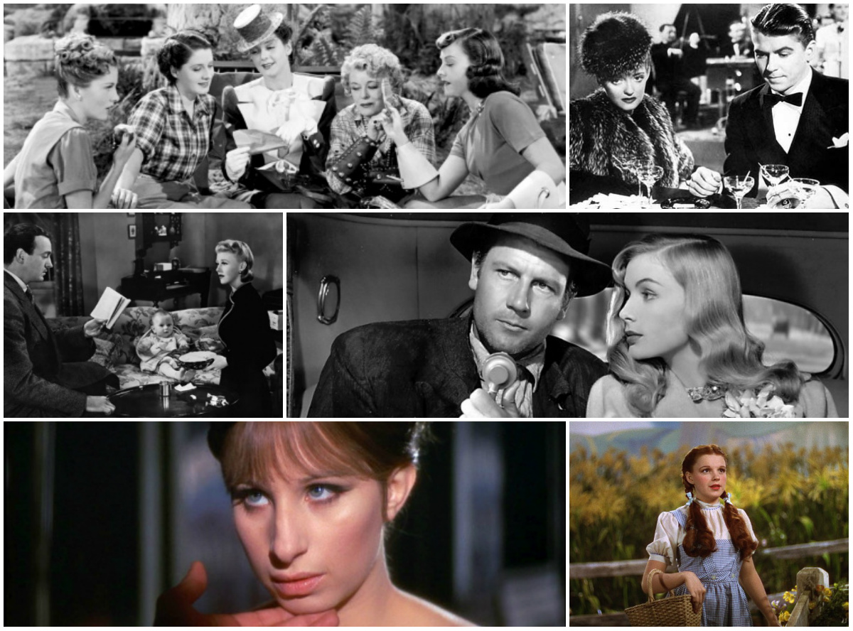 Stills from The Women, Dark Victory, Bachelor Mother, Sullivan's Travels, Funny Girl and The Wizard of Oz