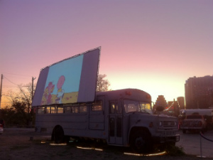 Blue Starlite Mini Urban Drive-In screen