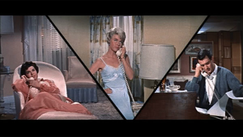 Doris Day listens in as Rock Hudson chats up a lover in Pillow Talk