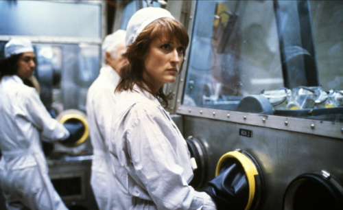 Meryl Streep in Silkwood (with a blurry young David Strathairn in the background)