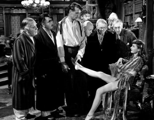 "Barbara Stanwyck, Gary Cooper and other ""professors"" in BALL OF FIRE"