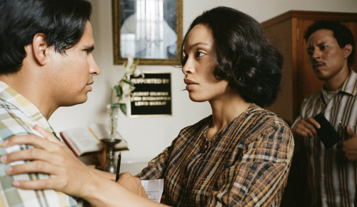 Michael Pena and Rosario Dawson in Cesar Chavez