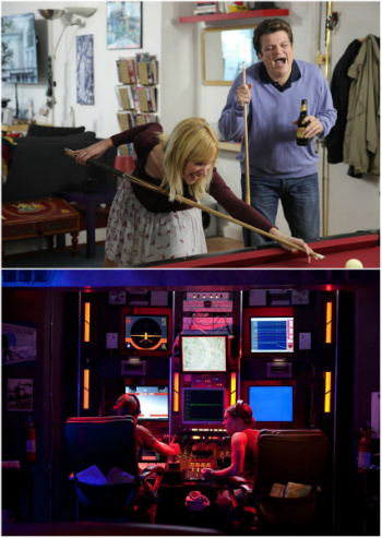 Stills from I'm Dating You Not (top) and Drones