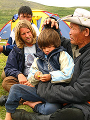 Rupert Isaacson, Rowan and Ghoste in Mongolia by Justin Hennard