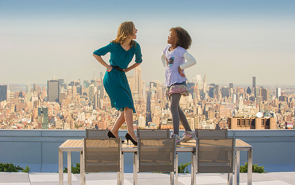 Rose Byrne and Quvenzhané Wallis take to a tabletop in Annie