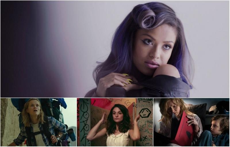 Top: Gugu Mbatha-Raw in BEYOND THE LIGHTS, Bottom row: Reese Witherspoon in WILD, Jenny Slate in OBVIOUS CHILD, Essie Davis in THE BABADOOK