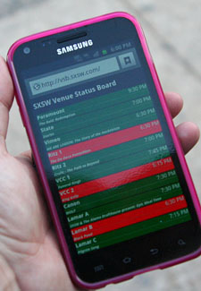 SXSW venue status board on smartphone