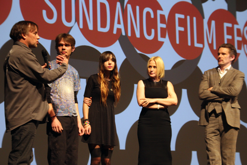 Richard Linklater with Boyhood Cast at Sundance premiere by Debbie Cerda