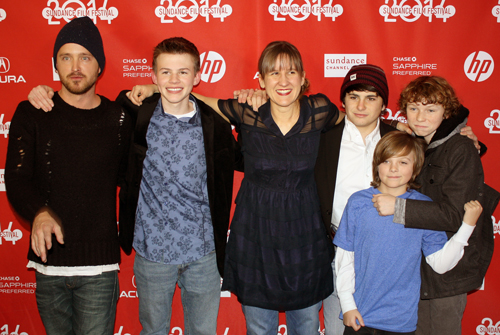 Aaron Paul, Josh Wiggins, and other Hellion cast members with Kat Candler, by Leslie Langee, all rights reserved