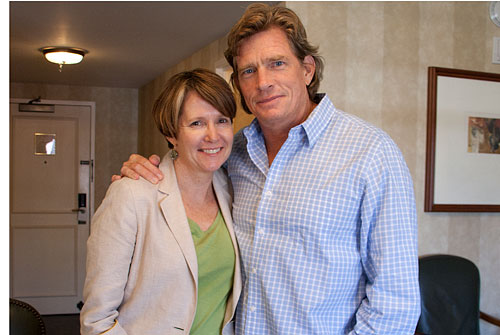 """Rebecca Campbell, Executive Director of Austin Film Society, and Thomas Haden Church,"" by Debbie Cerda, all rights reserved"