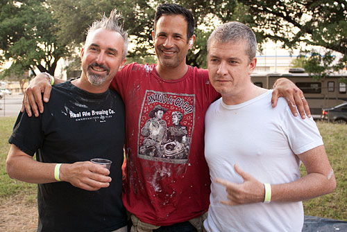 Tim Schwartz, Sam Calagione, and Tim League at OCFF Rolling Roadshow