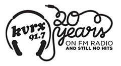 KVRX 20 Years on FM Radio Logo