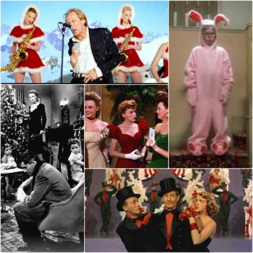 Stills from Love Actually, A Christmas Story, It's a Wonderful Life, Meet Me in St Louis, White Christmas